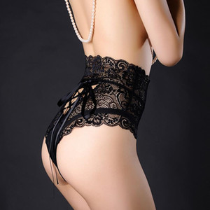 Sexy Panties Women High Waist Lace Thongs G String Underwear Ladies Hollow Out Underpants Imitation Lingerie Female Briefs Solid