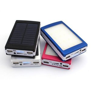 Wholesale -New 20000 mAh Solar and Camping light Battery Panel external Charger Dual 20000mah solar Charging Ports 5 colors choose for