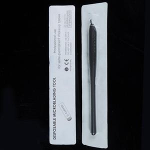 Tattoo Guns Kits 10pcs Permanent Makeup Black Disposable Microblading Pens Hand Tools With 7 12 14 17 18U Pins Needles Embroidery Blades