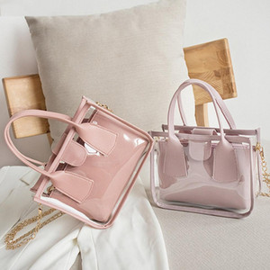 2pcs set Fashion Transparent Clear PVC Shoulder Bag Women Jelly Totes PU Leather Clutch Totes Travel Crossbody Handbag Composite