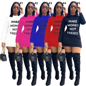 Autumn Women Dresses Sexy Offset Letters Make Money Not Friends Casual Solid Color Autumn Hooded Long Sleeves One-piece Dress S-XXL D102201