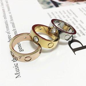 316 anillos de acero inoxidable para mujeres Hombres Joyería Parejas Cubic Zirconia Oro Silver Rose Oro Anillos Con Bolso Rojo 4mm 5mm 6mm Con Bolsa