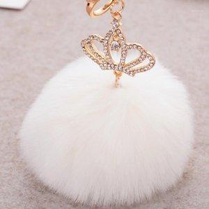 Hot sale Tassel Pompom Car Bag Key Ring Pendant Crown Fur Ball Keychain Fur Plush Key Chain POM POM Keychain CH-5571