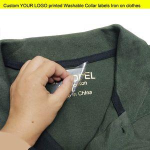 calor costume de transferência de adesivos personalizados seu logotipo impresso de transferência de calor etiqueta do vestuário etiquetas ferro em vestuário colarinho lavável camisa etiqueta etiquetas