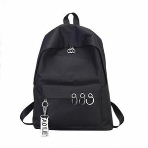 45# Fashion Men Women Backpack Waterproof Canvas Travel Backpack Female Ring Decoration Shoulder Bookbags Satchel Travel e6eQ#