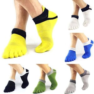 1 par Mens Summer Summer Toe Calcetines de punta de rayas Contraste Colorido Patchwork Men Cinco dedo Calcetines Free Tamel Cesta Calcetines1