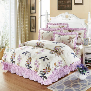4 6Pcs 100% Cotton Thick Quilted Bedspread set Purple Pink Floarl Bedding sets Queen King size Soft Duvet cover Pillowcases38