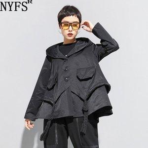 NYFS 2020 New femmes automne manteau à capuchon lâche mode veste taille Pocket C1106