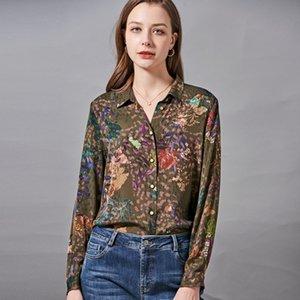 92% ipek 8% spandex kadın gömlek aşağı aşağı yaka çiçek baskılı zarif moda rahat bluz tops