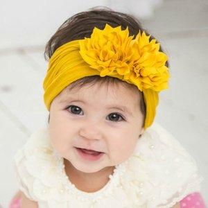Sevimli 1PCS Kız bebekler Lotus Flower Naylon Kafa Knot Elastik Yenidoğan Bebek Turban Headwraps Çocuk Saç Aksesuarları Hediyeleri C 1008