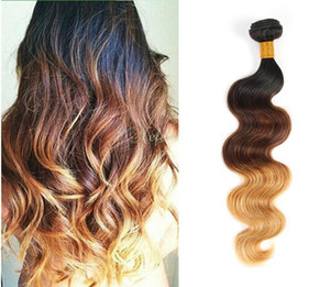 Ola brasileña ola de dos tonos color Omre humano remy cabello tejidos T1B / 27 T1B / 30 T1B / 99J Brown Borgodery Trojo Double Trowns