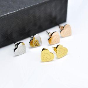 Fysara Luxury Heart Love Earrings For Women Rose Gold Color Heart Stud Earrings With English Letters Fine Jewelry Gift jlldbx