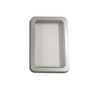 10.7 * 7 * 3cm Caixas de lata Transparent Janela aberta Capa de cobertura de ferro Caixas de armazenamento de retângulo Bluetooth Headset DIY Embalagem 1 35LP G2
