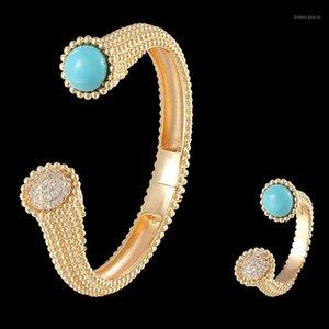 ZLXGIRL металлический золотой простой квадратный бисерный открытый браслет и кольцо ювелирных изделий набор моды медный браслет каждый новый год подарки1