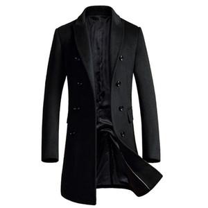 Shan Bao Manteau de laine de la marque Shan Bao Manteau de laine Automne et hiver Entreprise à double boutonnage Coat occasionnel Black Gris rouge 201223