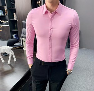 6 Solid Color Pink Tuxedo Dress Shirt Men Long Sleeve Shirt Chemise Business Office Works Shirts Camisa Social Masculina