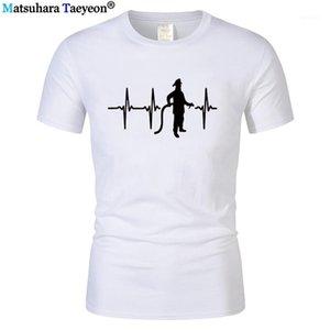 T-shirt da uomo T-shirt da uomo Casual manica corta in cotone pompiere heartbeat t shirt divertente regalo di compleanno del vigile del fuoco Tees1
