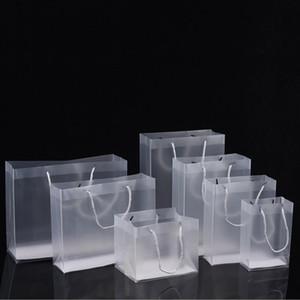 Frosted PVC-Kunststoff-Geschenk-Taschen mit Griffe wasserdichte transparente PVC-Tasche klare Handtasche Party Favors Bag Custom Logo