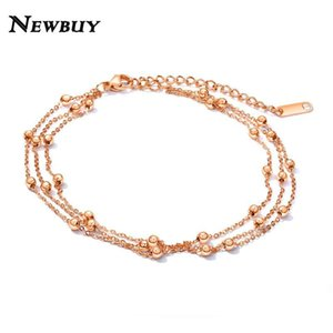 NEWBUY Multilayer Stainless Steel Anklets For Women Silver Rose Gold Color Beads Ankle Bracelets Wholesale