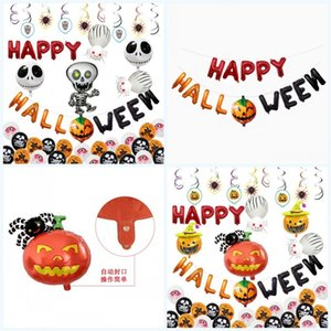 Ballon Halloween Pumpkin Human Skeleton Aluminium Film Air Sphere Festival Ghost KTV Market Dress Up Arrangement Aeroball Fabrication 22 5FX P1