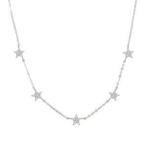 925 Sterling Silver Star Collier Micro Pave CZ Mignon Belle étoile Charme Délicate Minimal Fine Silver Chain Chain Chaîne Charmante Colliers de charme 295 N2