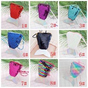 Women Mermaid Tail Sequins Coin Purse Girls Crossbody Bags Card Holder Small Portable Glittler Wallet Purse Bag Pouch Kid Gift VT0817