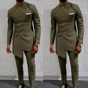 Vintage African Clothing For Men Men's Long Wedding Suit Men Attire Groom's Suit Slim Blazers Fit Mens Coat Jacket +Pants
