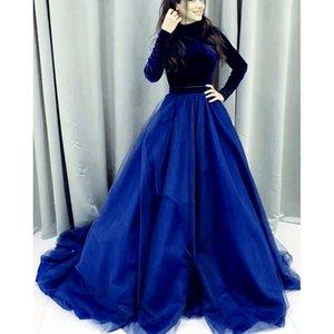 2020 Long Sleeves Muslim Evening Dress High Neck royal Blue Velvet vestidos largos Islamic Dubai Kaftan Saudi Arabic Boho Prom Dresses