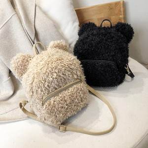 Hisely Winter Faux Fur Mulheres Bucket sacos Pequeno bolsa de ombro de pelúcia senhora casual bolsa de bolsa de moda saco de compras viajam bolsa feminina