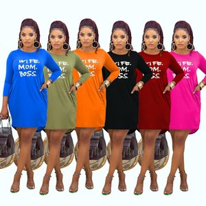 Hot selling 2021 spring and Autumn women's fashion leisure home letter offset Spot Stylist Solid color printing High Quality Dresses