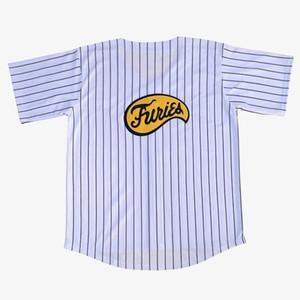 cheap custom Furies Stripes White baseball Jersey XS-5XL