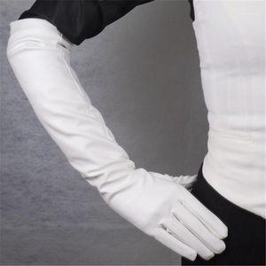 Пять пальцев перчатки длинная кожа 50см леди эмуляция овчины пу белый шелковистый настроился теплый тонкий ручной женщины WPU831
