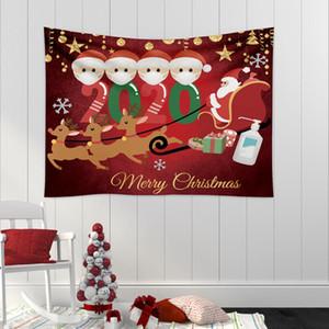 Familia de cuarentena los árboles de navidad tela de la tapicería manta de yoga arte del tapiz toalla de playa grande Alfombra Alfombra pared Decoración de Navidad DWE2318