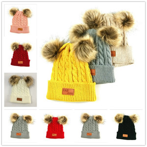 Winter Beanies Kids Infant Newborn Baby Twist Knit Hat Skull Caps Tuque With Two Double Pom Fur Ball Beanie Boys Girl Crochet Hats E101003
