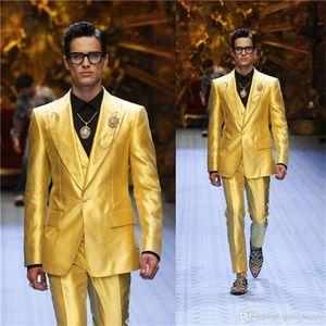 Hot Selling Groomsmen Peak Lapel Groom Tuxedos yellow Men Suits Wedding Prom Dinner Best Man Blazer ( Jacket+Pants+Tie+Vest ) K749