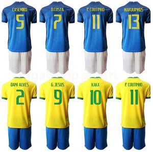 Soccer 9 Gabriel Jesus Jersey Set 11 Philippe Coutinho 7 David Neres 13 Dani Alves 2 Silva Richarlison Fernandinho Football Shirt Kits B-X
