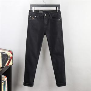 Новый дизайн мужские джинсы роскошные весенние лето тонкие джинсы джинсы тощий подходит джинсовые мужские моды дизайнер джинсы черные брюки высочайшего качества W28-W38