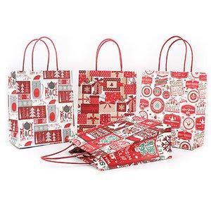 Presente de Natal saco de papel kraft criativa Bronzing Natal bonito dos desenhos animados embalagem sacola grátis DHL DHF2642