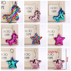 Sequin Unicorn Star Key Chain Christmas Keyring Cell Phone Bag Pendant Keychain Mermaid Key Ring Home Decor Kids Toys 8styles AAA1055
