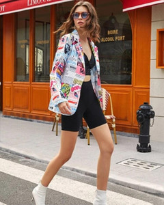 Hot Sale Europe 2020 Autumn new Newspaper printing Women Blazer fashion long sleeve slim Coat female casual plus size Suits