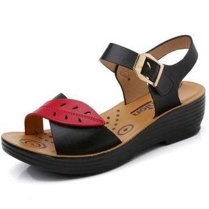 100% cowhide Leather New mother sandals women's flat bottom non-slip bottom women platform sandals sandalias mujer women shoes