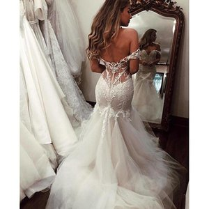 Off The Shoulder Sexy Illusion Mermaid Wedding Dress Court Train Layers Tulle Bridal Gowns with Floral Lace