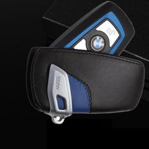 لتغطية حالة حقيبة جلدية BMW مفتاح البعيد شعار حامل سيارة حلقة مفاتيح سلسلة BlackBlue