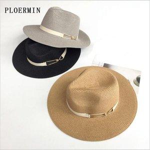PLOERMIN 여름 밀짚 패션 재즈 모자를 들어 여성 야외 레이디 챙이 넓은 페도라 파나마 모자 리본 장식 홀리데이 비치 모자