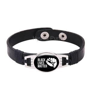 Adjustable Black Leather Snap Button Black Lives Matter Bracelet For Men Women ,Drop Shipping!