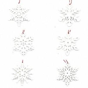 6pcs Snowflower Forme Maison de vacances Petit Noël Pendentif bricolage Artisanat suspendu Bureau du Festival Décoration Props légère en bois gQsB #