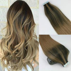 100gram 40PCS الشريط في شعر إنساني إمتداد BALAYAGE أومبير اللون البني الشعر العذراء البرازيلي سلس PU الجلد اللحمة 100G