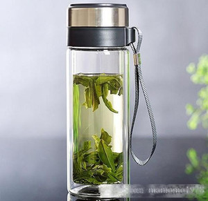 1PC 320M Double-layer glass water bottle with infuser Sealed transparent glass tea cup with rope hot selling J1460