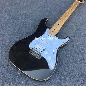 Nuova chitarra 6 corde elettrica, corpo in mogano massello, vino copertura superiore acero fiamma nera, hardware cromato, la consegna gratuita!