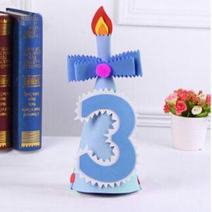 Cute Kids Birthday Party Hat Kid Birthday Party Hats Girls Kawaii Princess Caps Baby Digital Hat Decor Pink&Blue